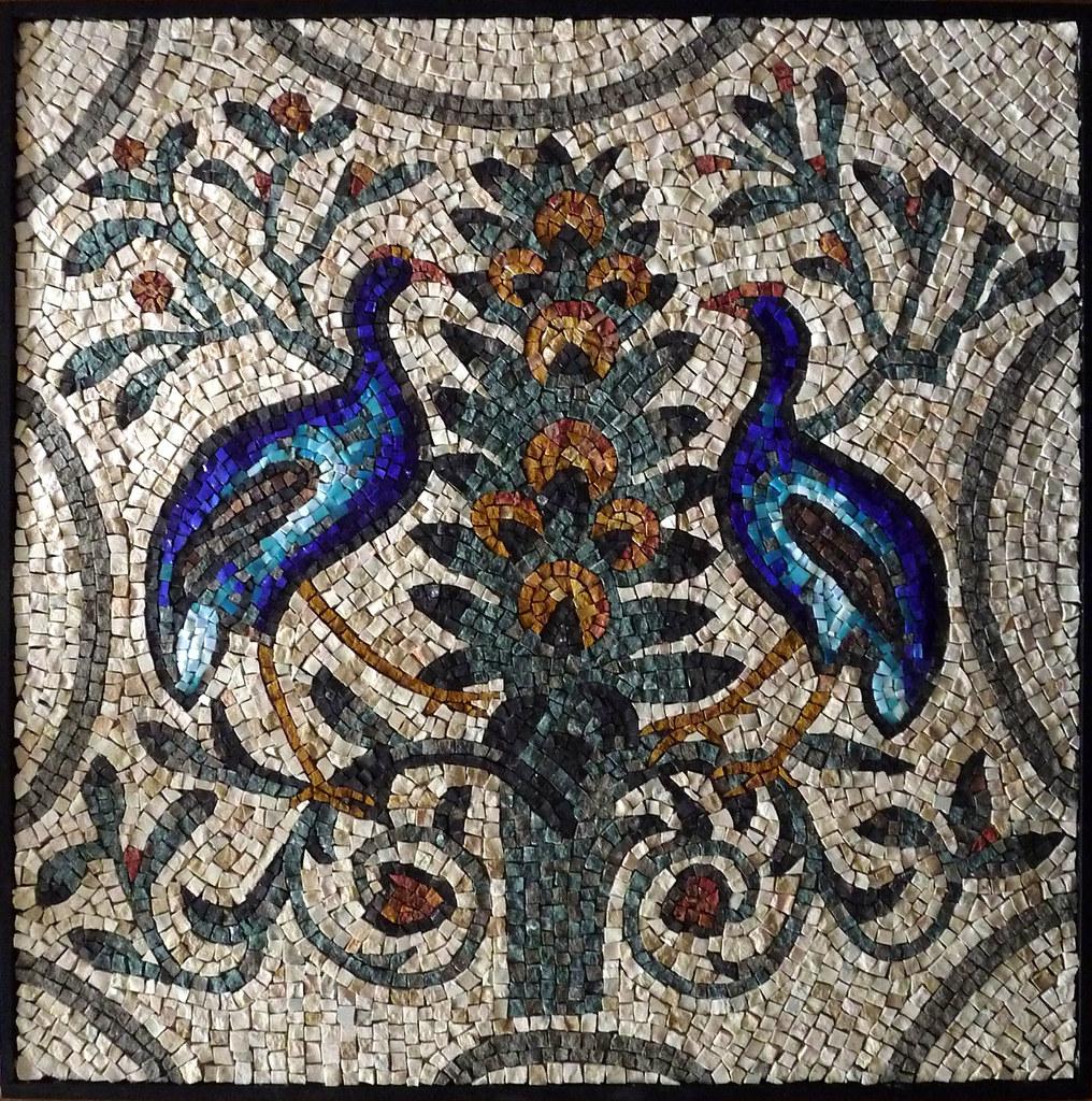 Pavoni polli sultanini copia for Mosaico romano