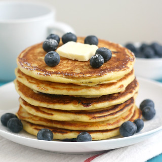Blueberry Cornmeal Pancakes | by Tracey's Culinary Adventures