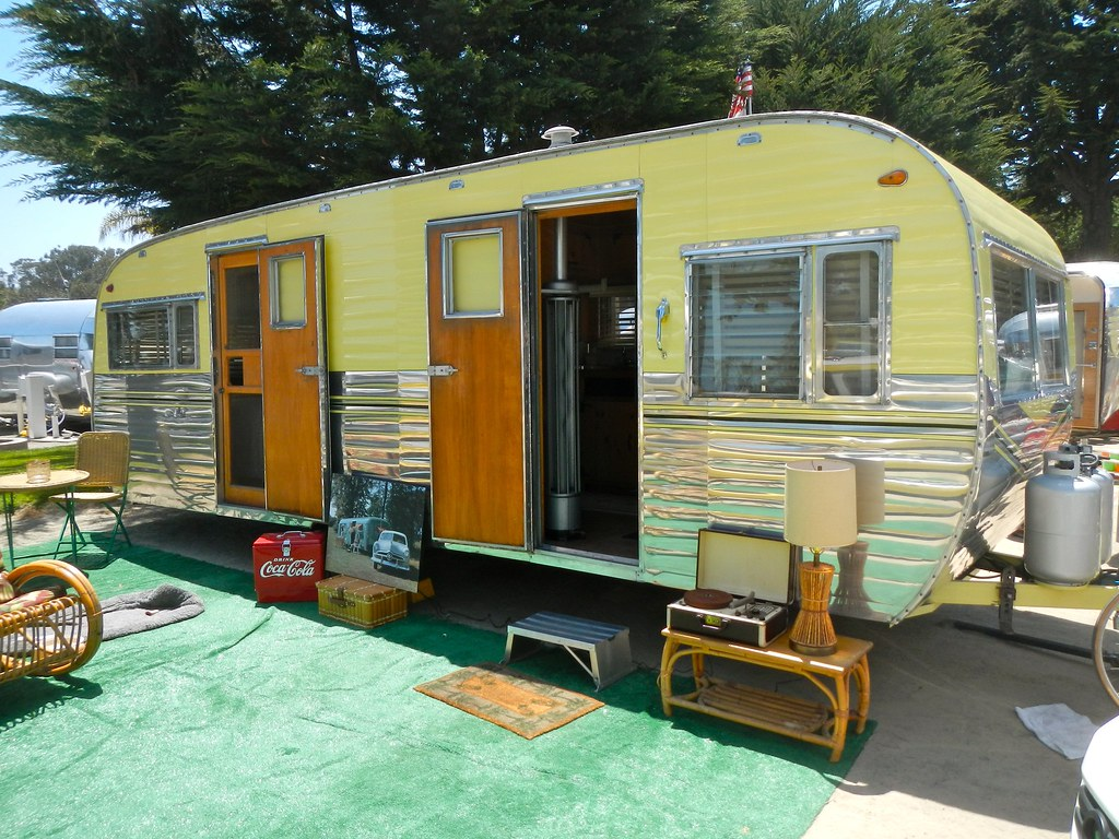 Traditional Travel Trailers At Campsites