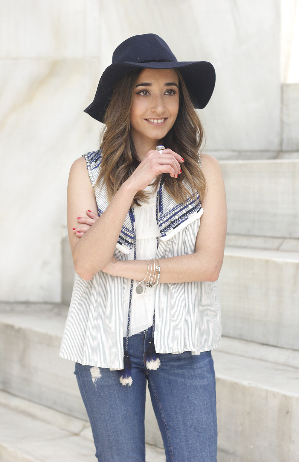 boho vest jeans heels blue hat alex and ani bohemian outfit23