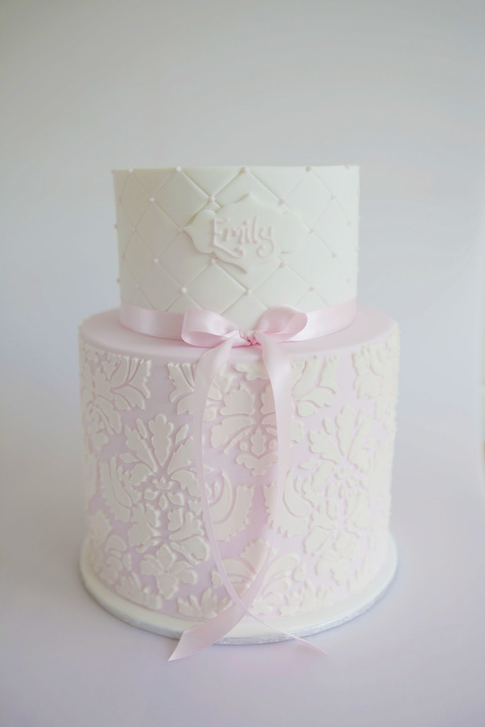 Damask Christening Cake Created For A Sophisticated