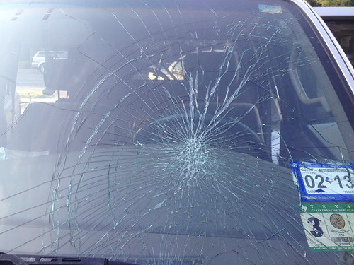 windshield after hawk dove into it on highway | by Bike Denton