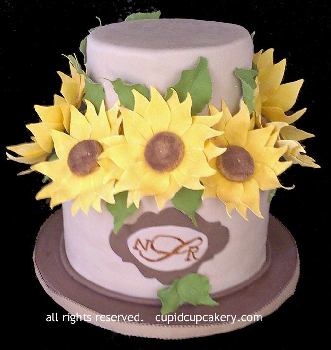 Sunflower Cake | 2 tier cake with gumpaste sunflowers ...