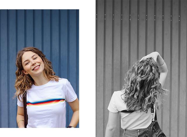 outfit_regenbogenshirt2, The Curly Head, Thecurlyhead, Amelie, Blog, Outfit, Mode, Outfitpost, Minirock, Jeans-Rock, Regenbogen-Shirt, striped rainbow shirt, mini skirt, Vans, Modeblogger