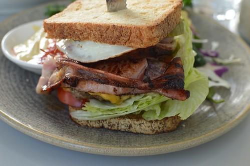 Grass fed burger on GF bread, plus bacon & egg