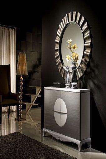 Mueble recibidor en tonos claros y plateados  Mueble recibi