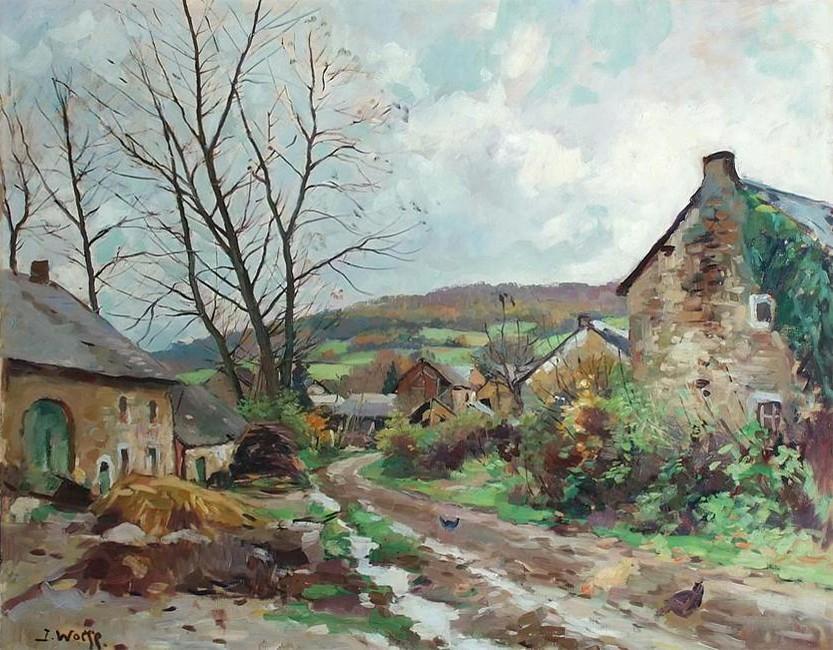 Rue de village en Ardenne (José Wolff - Peintre liégeois ...