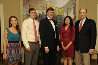 Winners of the Common Book Writing Contest are pictured with author Tracy Kidder. The winners were recognized at a dinner held by Auburn University President Jay Gogue, where they dined with Kidder prior to the lecture. | by Auburn University