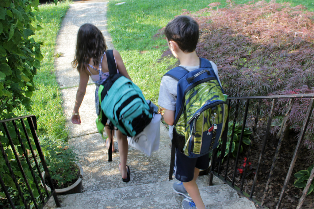 Kids carrying backpacks ready for trip