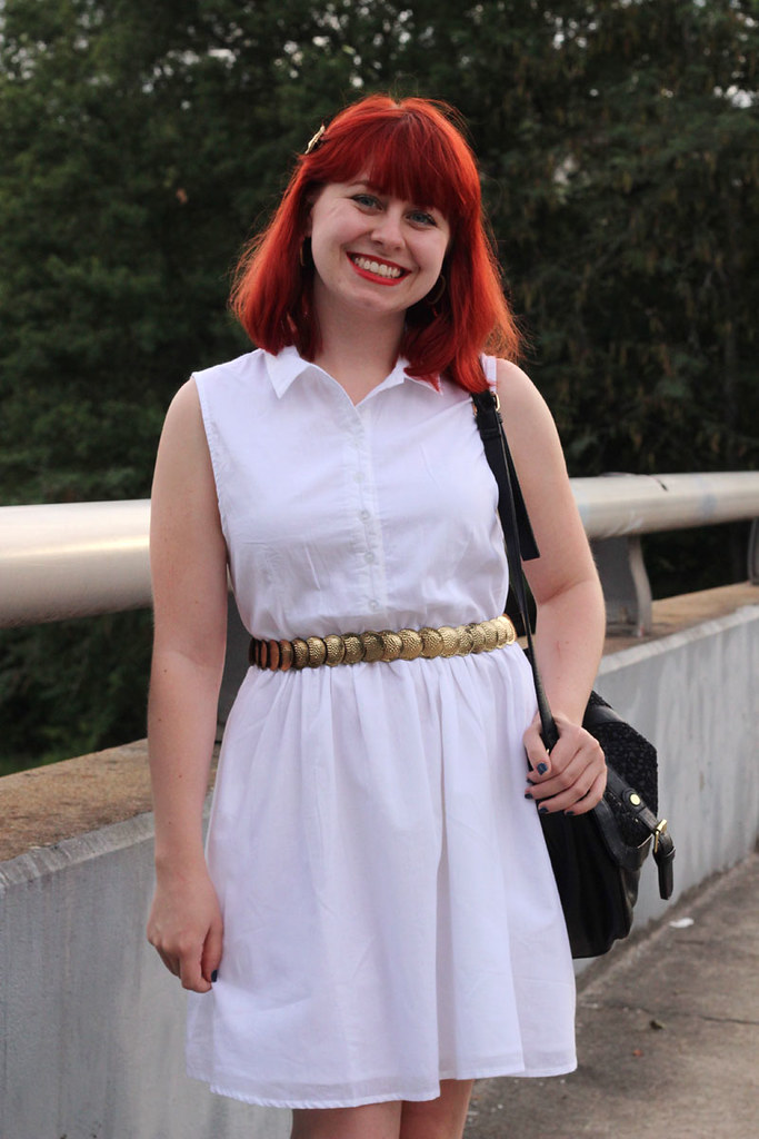 White Sleeveless Shirt Dress with Thrifted Gold Coin Belt