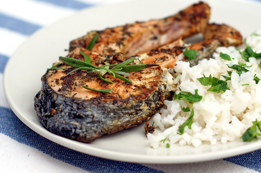 Grilled salmon steaks with herb butter | 4 salmon steaks 1 ...