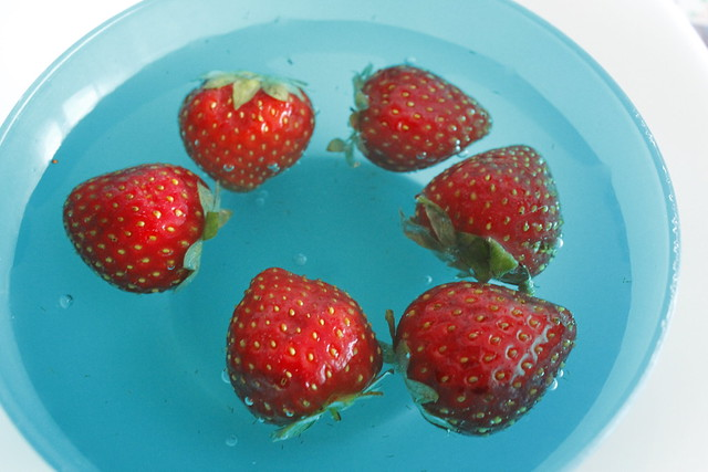 fresas en agua
