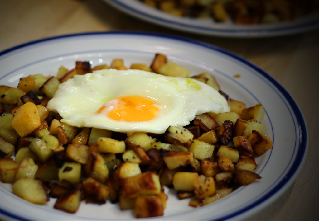 Root vegetable hash on plate