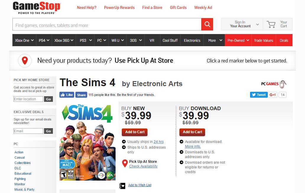 Gamestop Sims 4 Sale