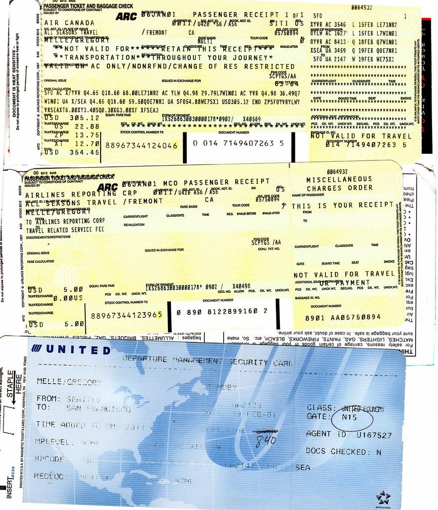 Ac 2001 02 15 Airline Ticket Baggage Air Canada Air