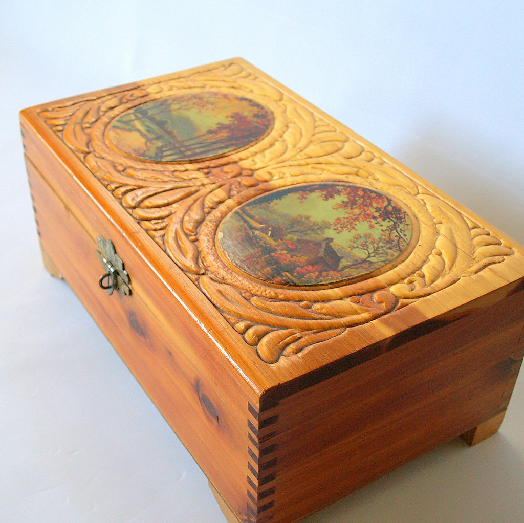 Cedar Wooden Box Antique Jewelry Box Carved Scroll Woodwor