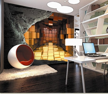 3d gold blocks cave wall mural a cool cave creating for Creating a mural