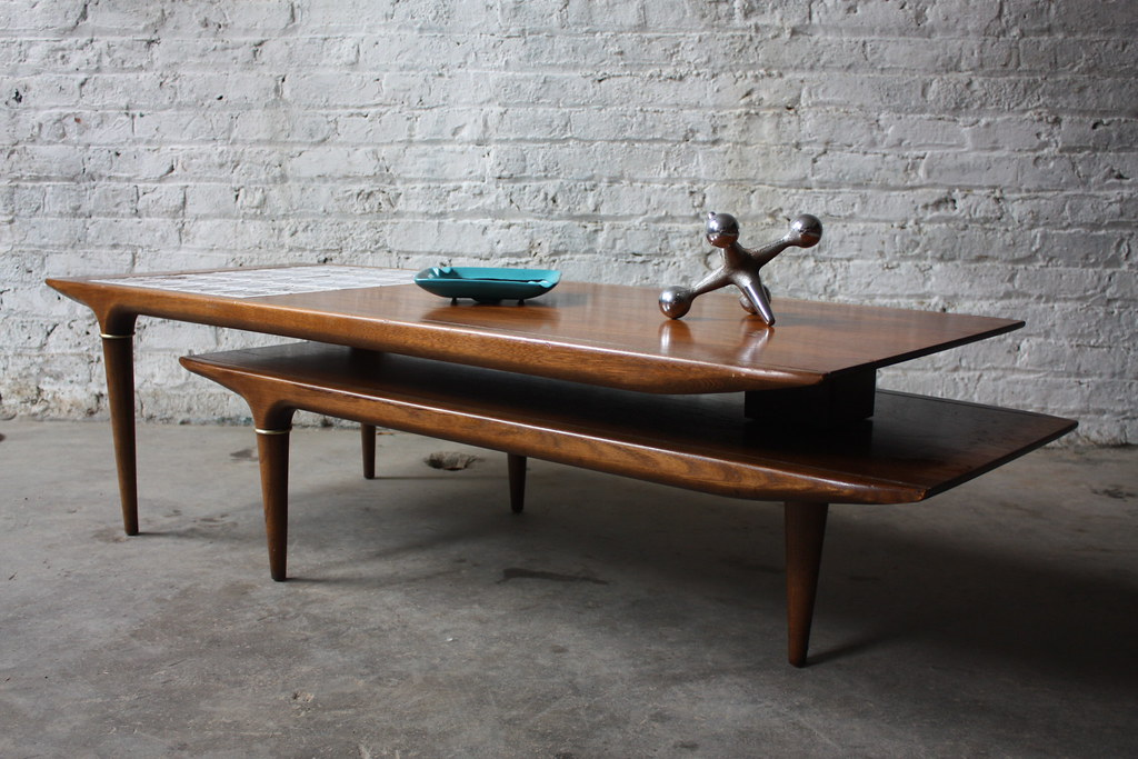 rare lane swivel pivot boomerang mcm walnut coffee table (… | flickr