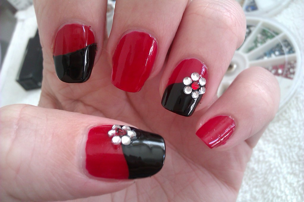 Simple DIY Nail Art Designs: Easy Red and Black Nail Desig… | Flickr