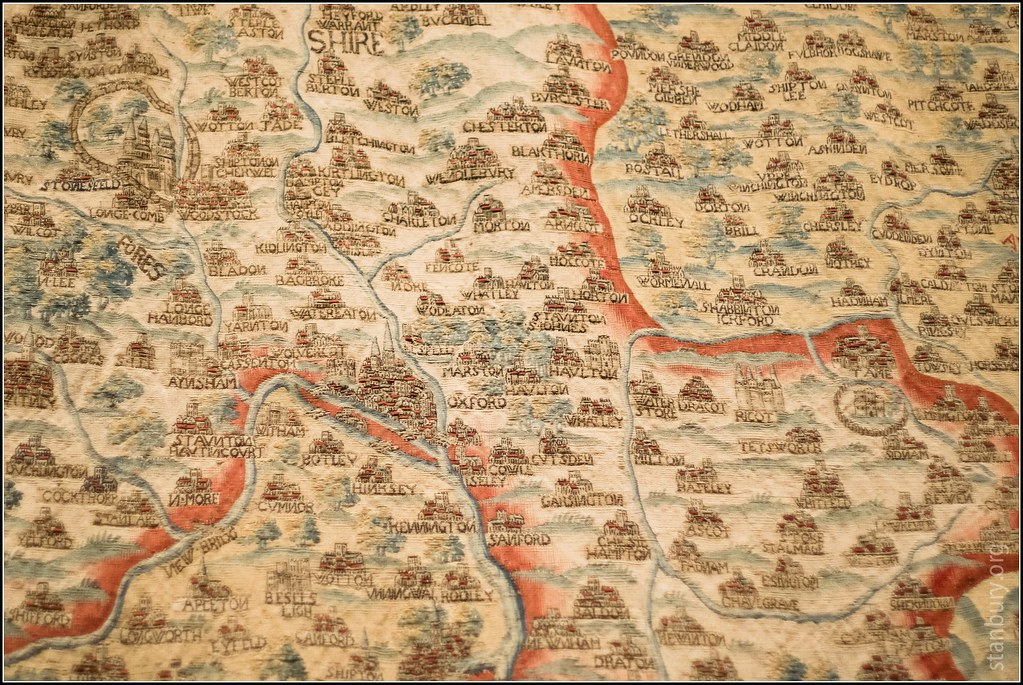 Sheldon tapestry map of Oxfordshire /detail | Seventeenth ...