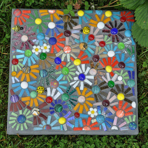 Mosaic Garden Stones: Glass Tiles, Glass Gems, Van Gogh