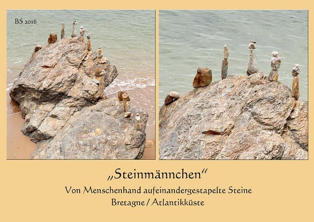 """Bretagne 2016 - Atlantik - aufgeschichtete Steine am Meer - """"Steinmännchen"""" - Foto: Brigitte Stolle 2016"""