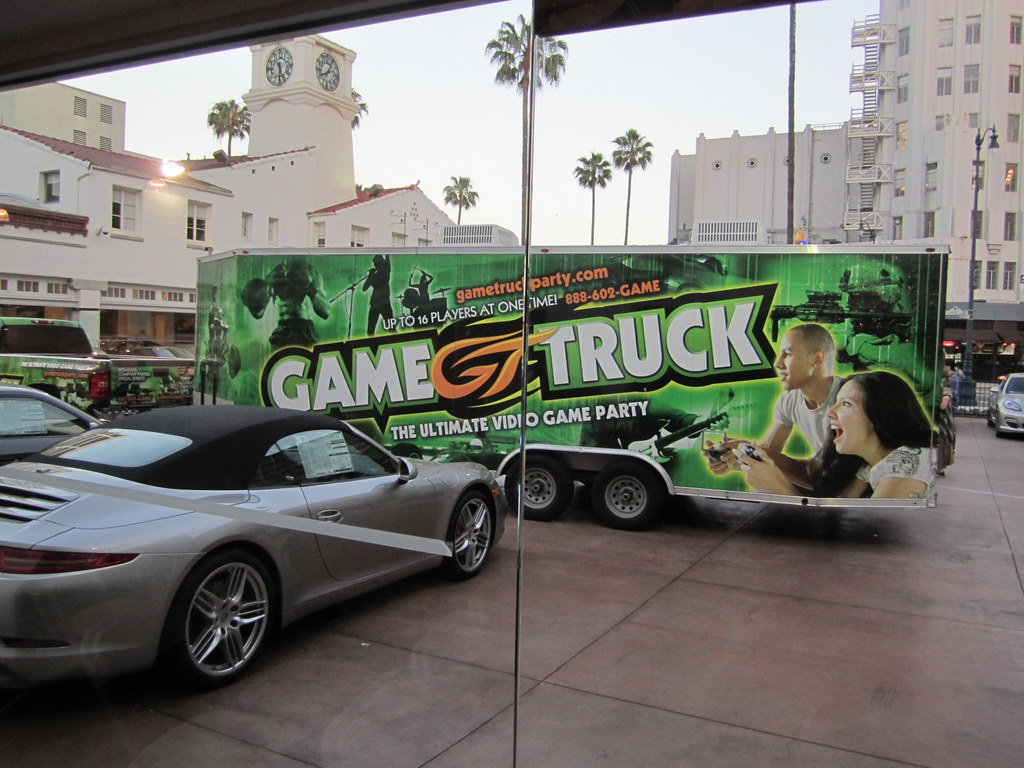 the games truck los angeles porsche cars and video games flickr. Black Bedroom Furniture Sets. Home Design Ideas