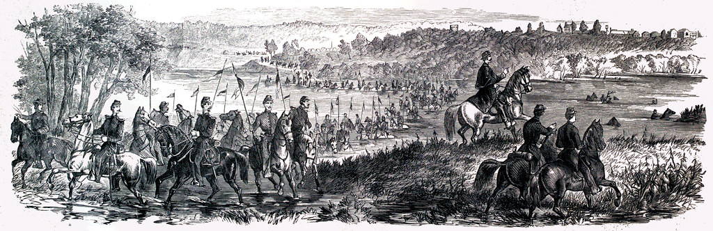 Fording of the Osage River at Warsaw, Mo, by the Fremont Hussars, October 18th, 1861