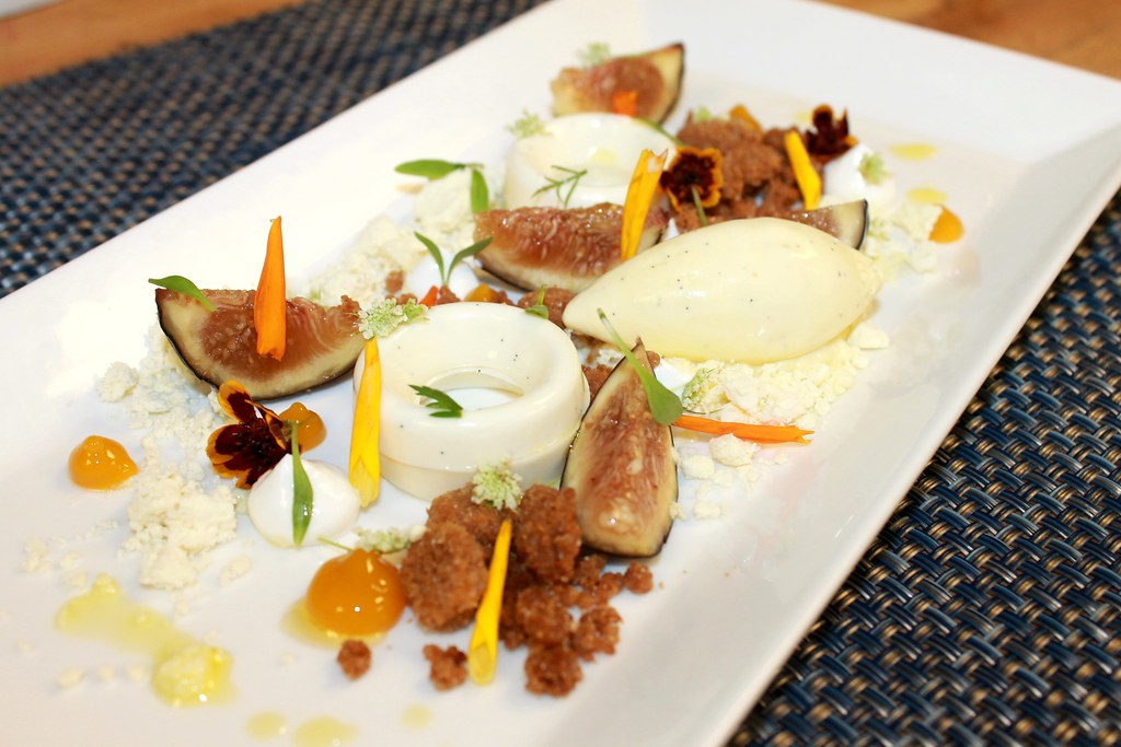Goat cheese panna cotta, extra virgin olive oil ice cream,… | Flickr