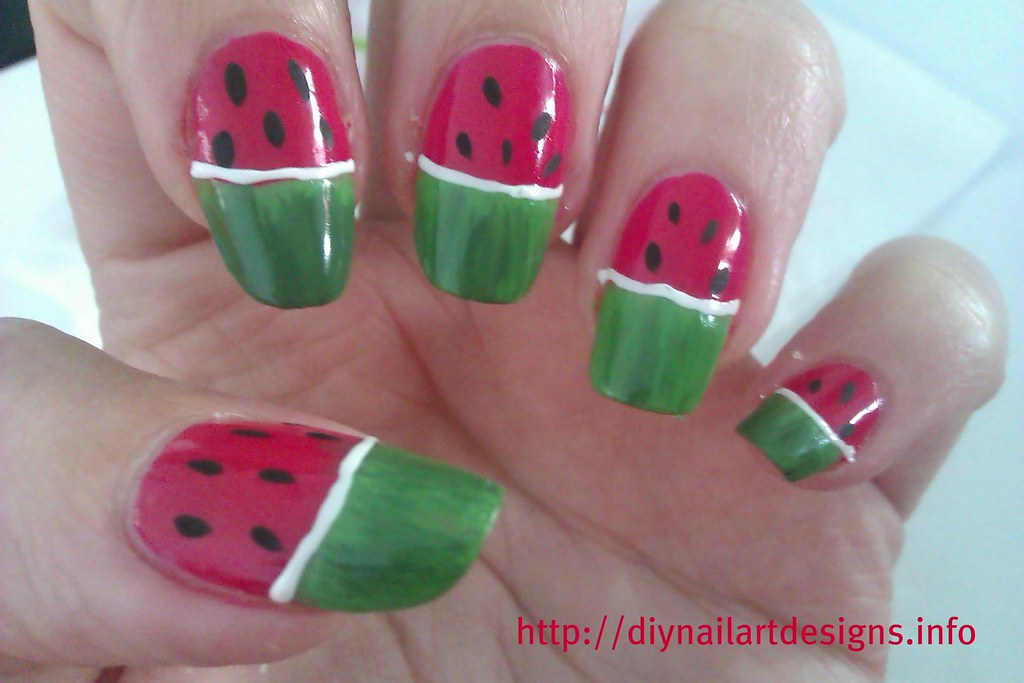Diy Nail Art Designs Quick And Simple Watermelon Nails Tu Flickr