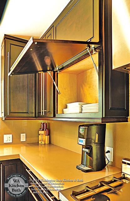 800 935 5524 Espresso Maple Flip Up Cabinet In Kitchen
