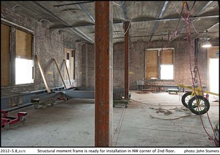 Structural moment frame is ready for installation in NW corner of 2nd floor. | by Seattle Department of Transportation
