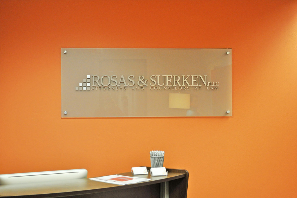 Classic Etched Glass Office Reception Sign With Brushed An