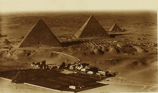 Pyramids of Cheops. Menai hotel in foregound on left bank of River Nile near Cairo | by San Diego Air & Space Museum Archives