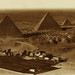 Pyramids of Cheops. Menai hotel in foregound on left bank of River Nile near Cairo