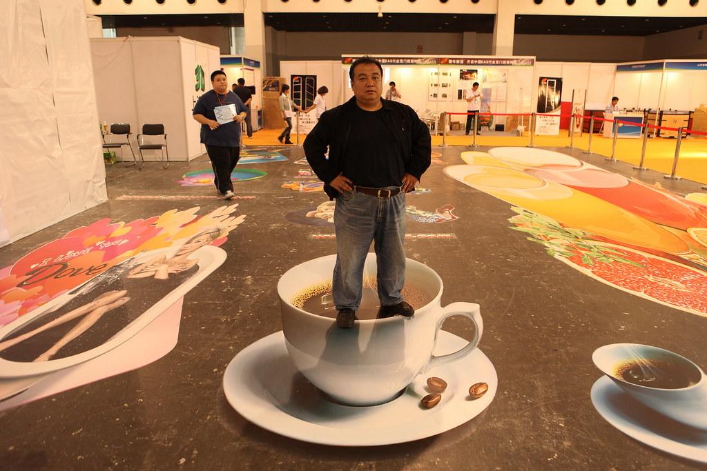 3d Exhibition Booth : D floor sticker coffee cup design we