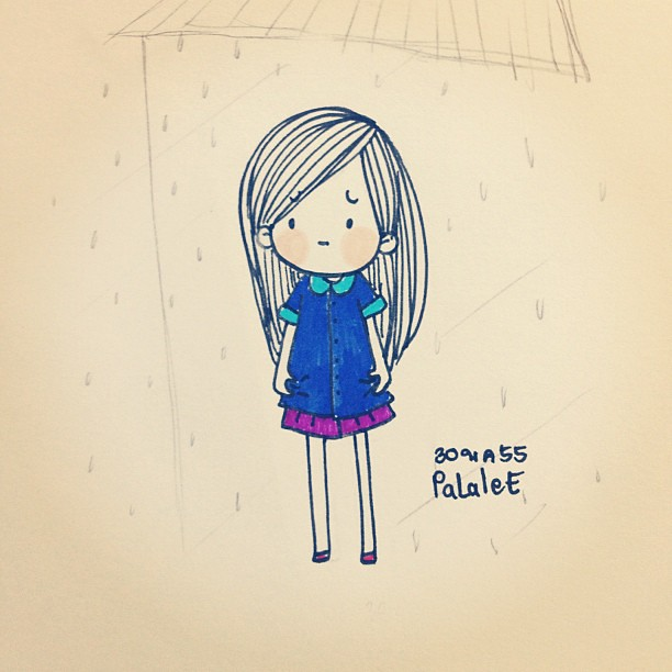 Rain all day ☔☔☔ #me #day #girl #mood #emotion #emoji #cha ...  Girl Cartoon Characters To Draw