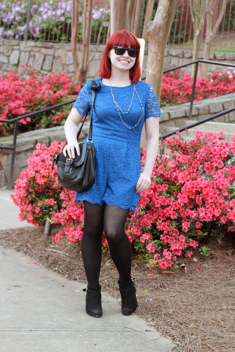 Cobalt Blue Lace Playsuit with a Beaded Necklace and Black Wedge Boots from Target