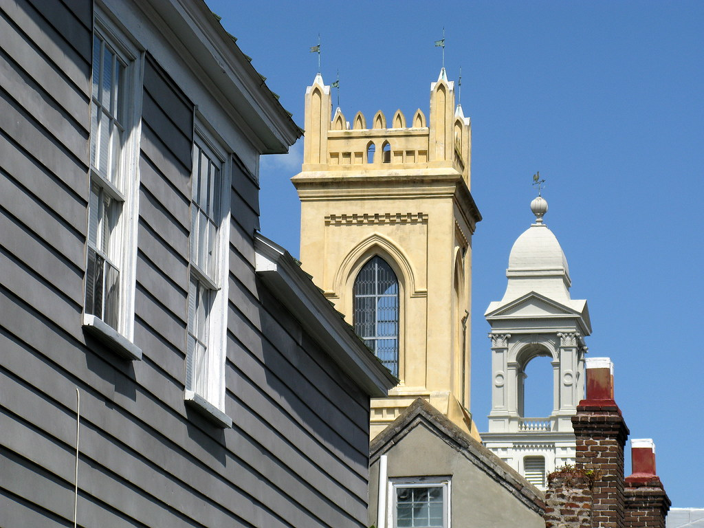 The towers of the Unitarian Church and St John's Lutheran Church from Queen Street, Charleston, SC