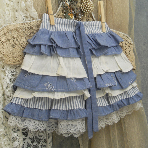 "Girl's Ruffled Skirt With ""Bustle"" Back Custom Made 