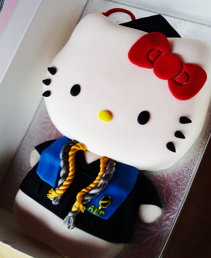 Hello Kitty Graduation Cake With Honors Animated ...