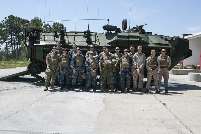 Nine surface warfare officers (SWO) of the Navy's pilot Amphibious Warfare Tactics Instructor (WTI) course, visit Marine Corps Base Camp Lejeune for a field trip to immerse with Marines.