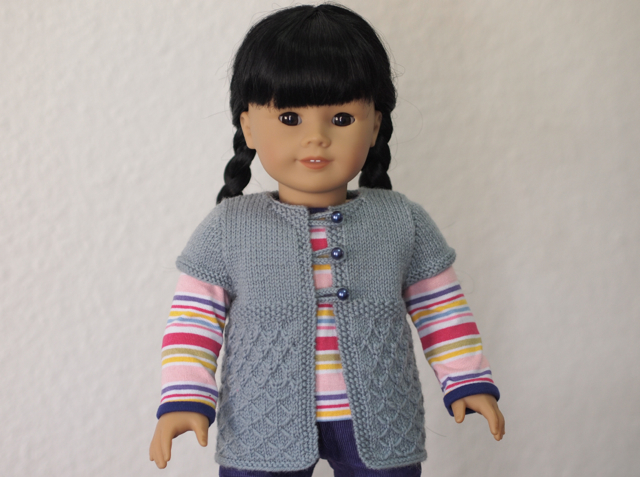 """Butterfly"" Short Sleeve Cardigan for Dolls"