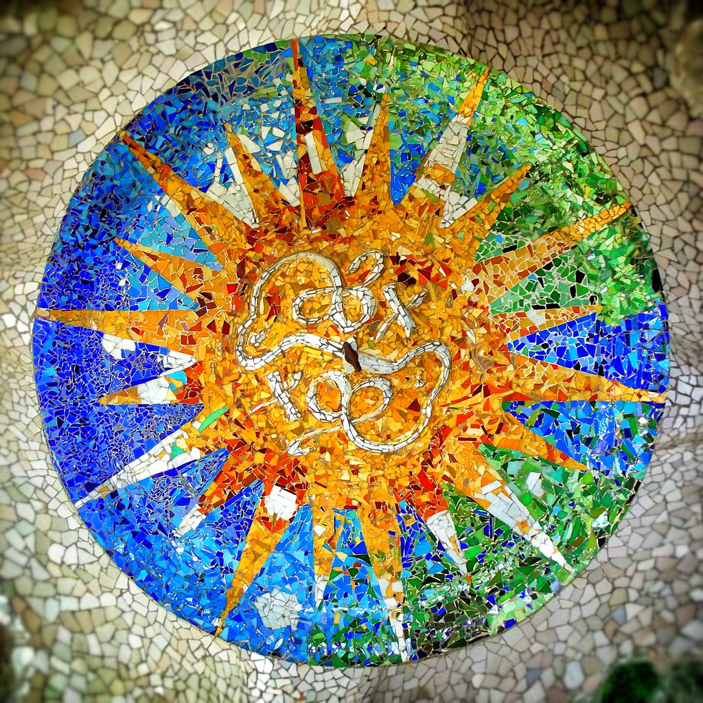 Mosaics In The Ceiling Park Guell Antoni Gaudi Barcelon