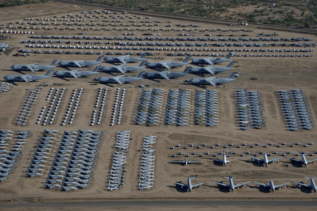 Aerial View Lockheed C 5 Galaxies And Assorted Aircraft