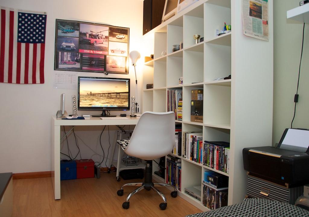 desk shelves my desk area and shelves ryan j nicholson flickr. Black Bedroom Furniture Sets. Home Design Ideas