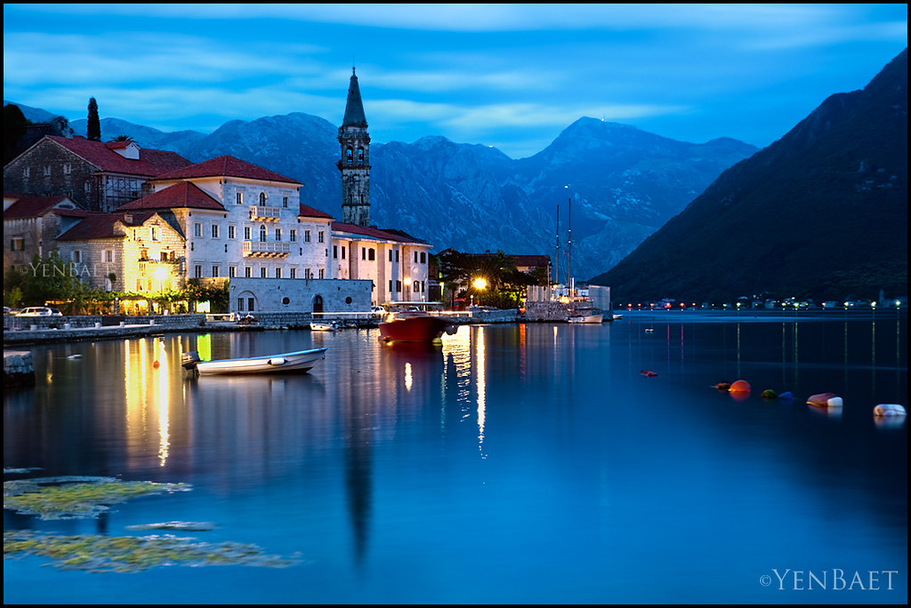 Perast Twilight Over St Nicholas Church And The Bay Of