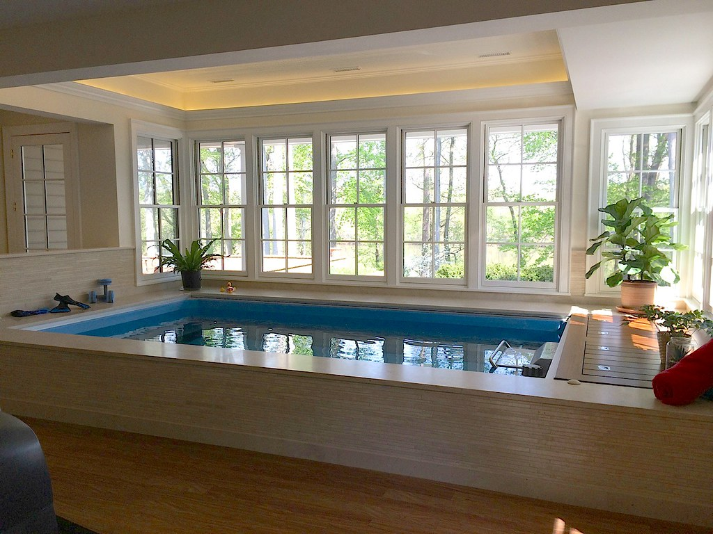 Original endless pool endless for Swimming pool room ideas