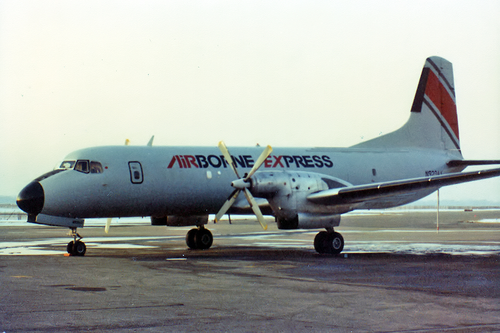 airborne express 11 This ys-11 was built in 1969 for piedmont airlines, and served with them until june 1981 here she is in september 1981, at the start of her cargo career with airborne express, with whom she served until 1996.
