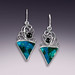 gem silica/malachite earrings with star enstatite accents